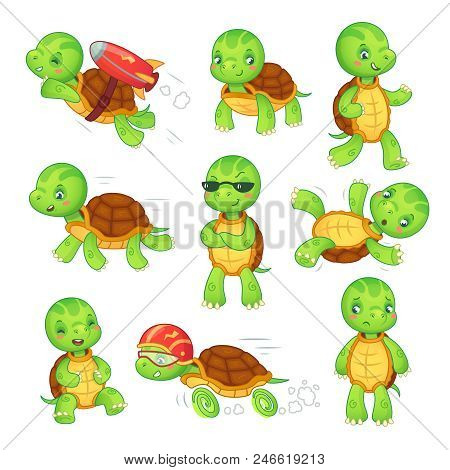 Turtle Child. Running Fast Tortoise Cartoon Characters Icon. Green Funny Walking Run Fall Standing A