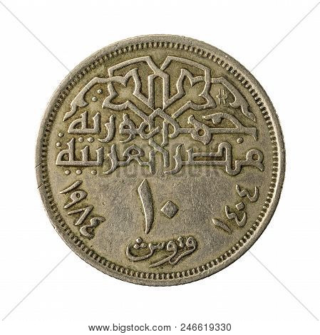 10 Egyptian Piastre Coin Obverse Isolated On White Background
