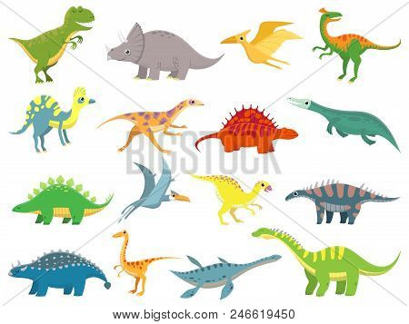 Cute Baby Dinosaur. Dinosaurs Dragon And Funny Dino Character. Fantasy Cartoon Colorful Prehistoric