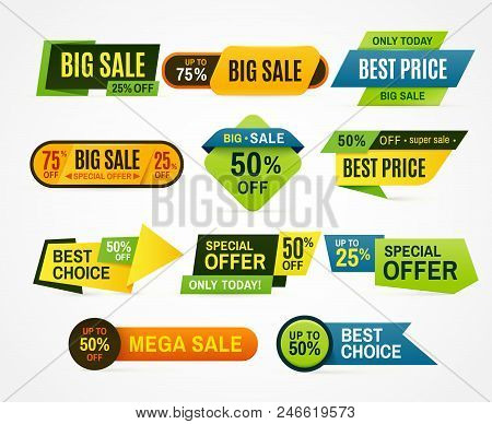Sale Stickers. Price Tag Label. Banner Sticker Or Special Colorful Abstract Flyer For Mega Big Speci