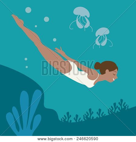 Illustration In A Circle With A Beautiful Girl Floating In Clear Clear Water, Where You Can Clearly