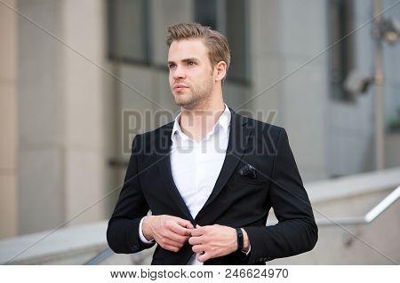 Uniform Business Environments Decorum Professionalism Woven Culture Organization. Man Formal Suit Bu