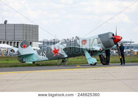 Berlin - April 27, 2018: Soviet Fighter Aircraft Yakovlev Yak-3 (replica Yak-3upw Produced In 2002 W