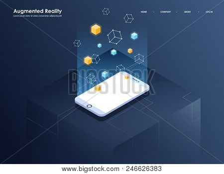 Augmented Reality Concept Isometric Banner. Flat Design Template For Mobile App And Website. Virtual