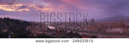 The Magical Panoramic Sunset View Skyline Of Florence From Piazzale Michelangelo, Florence, Italy