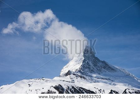 View Of The Matterhorn With Cloud From Gornergrat, Zermatt, Switzerland