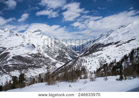 Beautiful Landcape Snow Mountains View With Nice Blue Sky From Gornergrat Railway, Zermatt, Switzerl