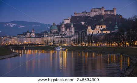 Beautiful Twilight Sunset View Of Salzburg Skyline With Festung Hohensalzburg And Salzach River, Sal