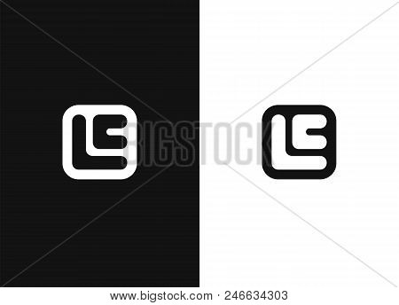 Initial Letters E, L And C In Square Rounded Shape. Logo Icon Design Template Elements. Black White