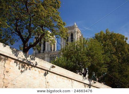 Top Of The Notre Dame De Paris From Seine River