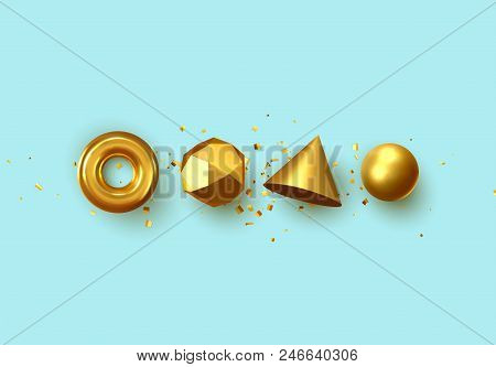 Set Of 3d Realistic Elements Isolated On Blue Background. Spheres, Torus, Cones And Other Geometric