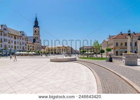Oradea, Romania - 28 April, 2018: Union Square In The Center Of Oradea, Romania.