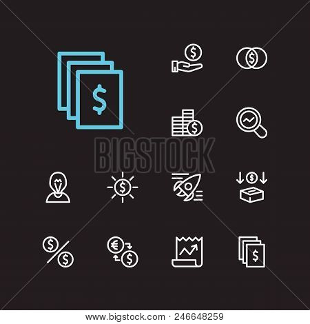 Economy Icons Set. Exchange And Economy Icons With Dividend, Market Research And Assets. Set Of Depo