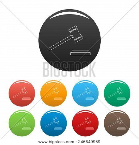 Legal Gavel Icon. Outline Illustration Of Legal Gavel Vector Icons Set Color Isolated On White
