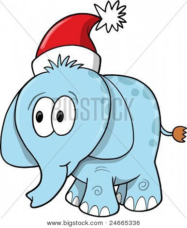 Cute Safari Christmas Holiday Elephant poster