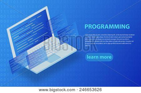 Software Development And Programming, Program Code On Laptop Screen, Big Data Processing, Computing