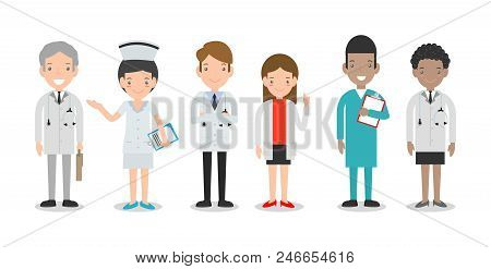 Set Of Doctor,nurses,medicine Staff In Flat Style Isolated On White Background. Hospital Medical Sta