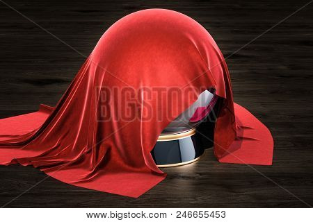 Red Cloth Covered Crystal Ball On The Wooden Table, 3d Rendering
