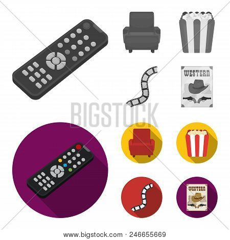 Control Panel, An Armchair For Viewing, Popcorn.films And Movies Set Collection Icons In Monochrome,