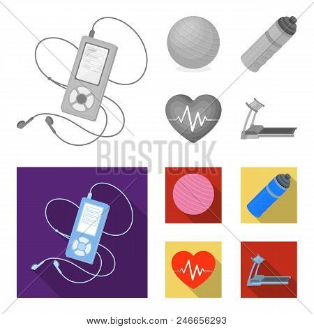 Player, A Bottle Of Water And Other Equipment For Training.gym And Workout Set Collection Icons In M