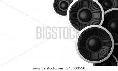 Music concept. Multiple various size black sound speakers on white background, copy space. 3d illustration
