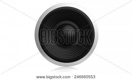 Music concept. Black sound speaker isolated on white background. 3d illustration