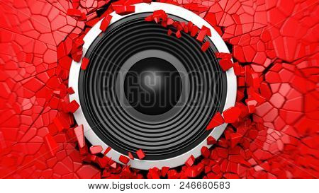Music concept. Black sound speaker on red cracked wall background. 3d illustration