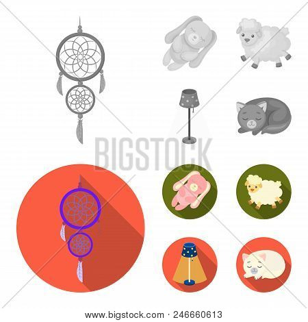Dream Catcher, Soft Toy Sheep And Rabbit, Floor Lamp. Rest And Sleep Set Collection Icons In Monochr