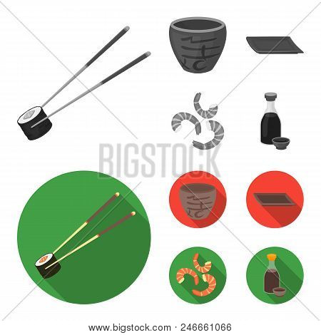 Sticks, Shrimp, Substrate, Bowl.sushi Set Collection Icons In Monochrome, Flat Style Vector Symbol S