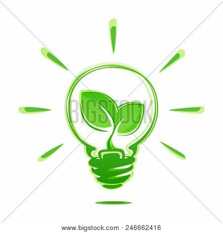 Ecology Idea Green Bulb With Plant Vector Illustration Isolated On White Background. Ecology Concept