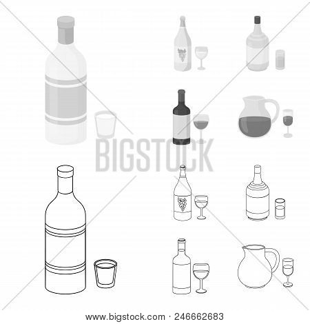 White Wine, Red Wine, Gin, Sangria.alcohol Set Collection Icons In Outline, Monochrome Style Vector
