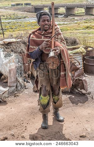 Black Mountain Pass, Lesotho - March 24, 2018: A Unidentified Musician At The Mamokae Village At The