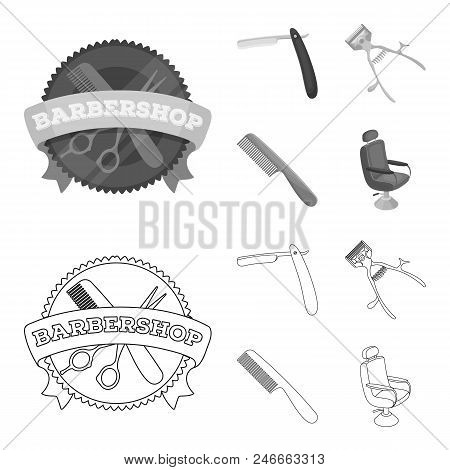 A Razor, A Mechanical Hair Clipper, An Armchair And Other Equipment For A Hairdresser.barbershop Set