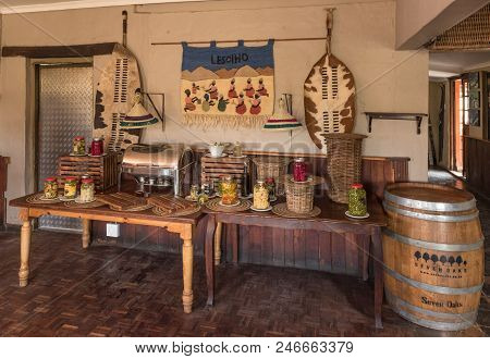 Sani Top, Lesotho - March 24, 2018: Buffet Table At Sani Top Mountain Lodge At The Top Of The Sani P