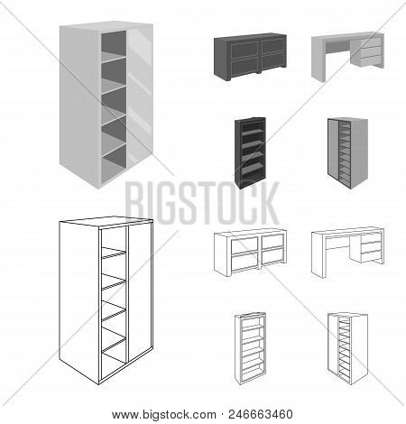 Wardrobe With Mirror, Wardrobe, Shelving With Mezzanines. Bedroom Furniture Set Collection Icons In