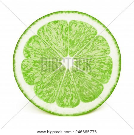 Perfectly retouched sliced half of lime fruit isolated on the white background with clipping path. One of the best isolated limes halves slices that you have seen. poster