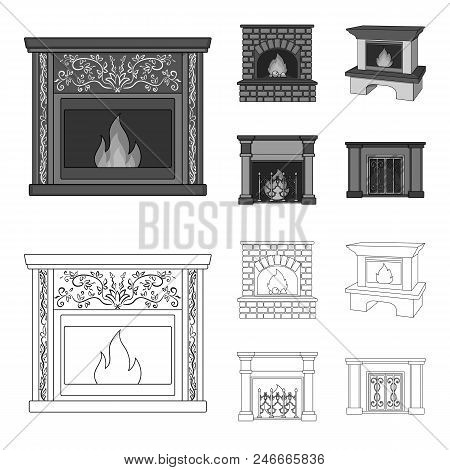 Fire, Warmth And Comfort.fireplace Set Collection Icons In Outline, Monochrome Style Vector Symbol S