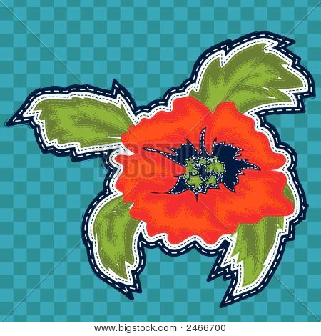 Distressed Poppy Digital Embroidery