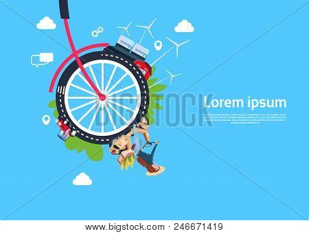 Bicycle Wheels Lady On Scooter, Process Effective Industrial City Process, Rotation Concept. Process