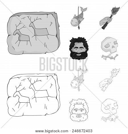 Primitive, Fish, Spear, Torch .stone Age Set Collection Icons In Outline, Monochrome Style Vector Sy
