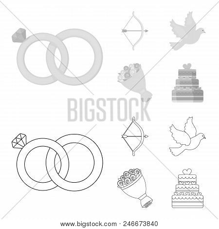 Arrow Cupid, Dove, Bouquet Of Flowers, Wedding Cake. Wedding Set Collection Icons In Outline, Monoch