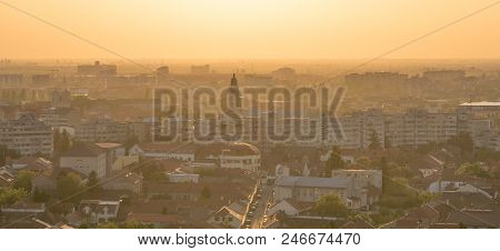 Oradea City Viewed From Above At Sunset, Romania.