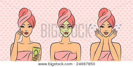 Spa girl during beauty ritual. Beautiful illustration