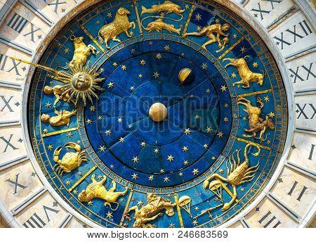Ancient Clock Torre Dell'orologio In Venice