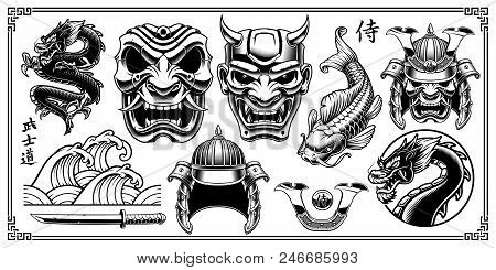 Set Of Vintage Samurai Vector Elements. Samurai Warrior Clipart. All Elemetnts Are On The Separate L