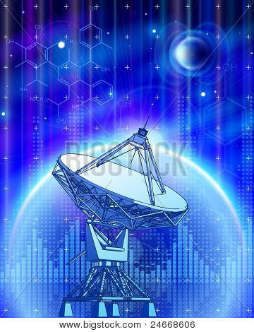 satellite dishes antenna - doppler radar, blue planets, electromagnetic waves & chemical formulas - technology background. Bitmap copy my vector id 73544269