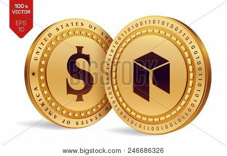 Neo. Dollar Coin. 3d Isometric Physical Coins. Digital Currency. Cryptocurrency. Golden Coins With N