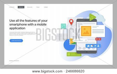 Creative Website Template. Vector Illustration For A Web Page, Design And Creation Of Pages In Mobil