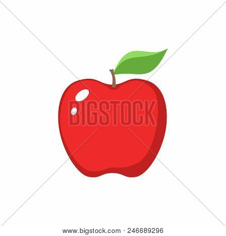 Red Apple Clipart Cartoon. Red Apple And A Leaf Icon.