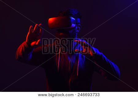Future Technology. Scared Man In Virtual Reality Headset. Future. Men Using Vr Headset. Virtual Real